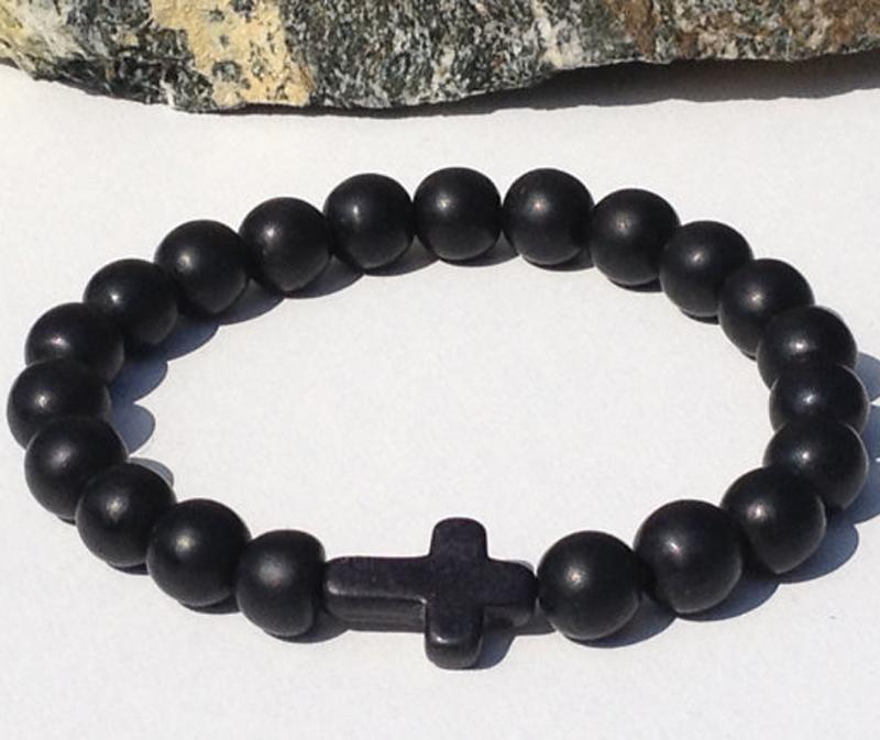 SN0060 Оптовая ручная работа черный оникс бисером браслеты камень крест мужчины браслет Оптовая Бесплатная доставка