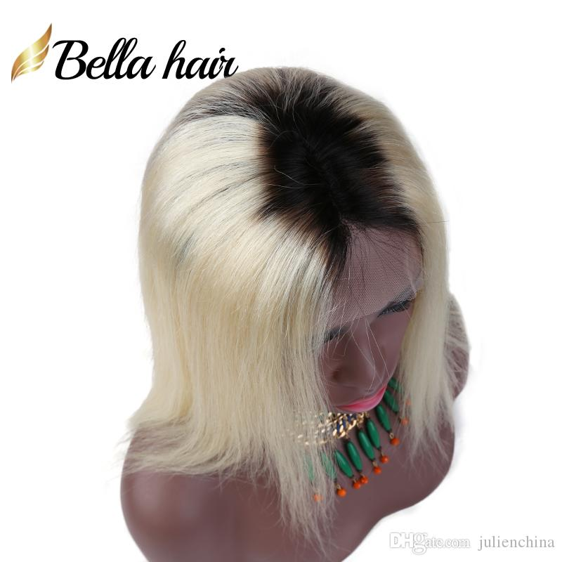 613 with Dark Root Blonde Full Lace Wigs Ombre Human Hair Wig Front Lace Color #1B/613 Straight Bella Hair