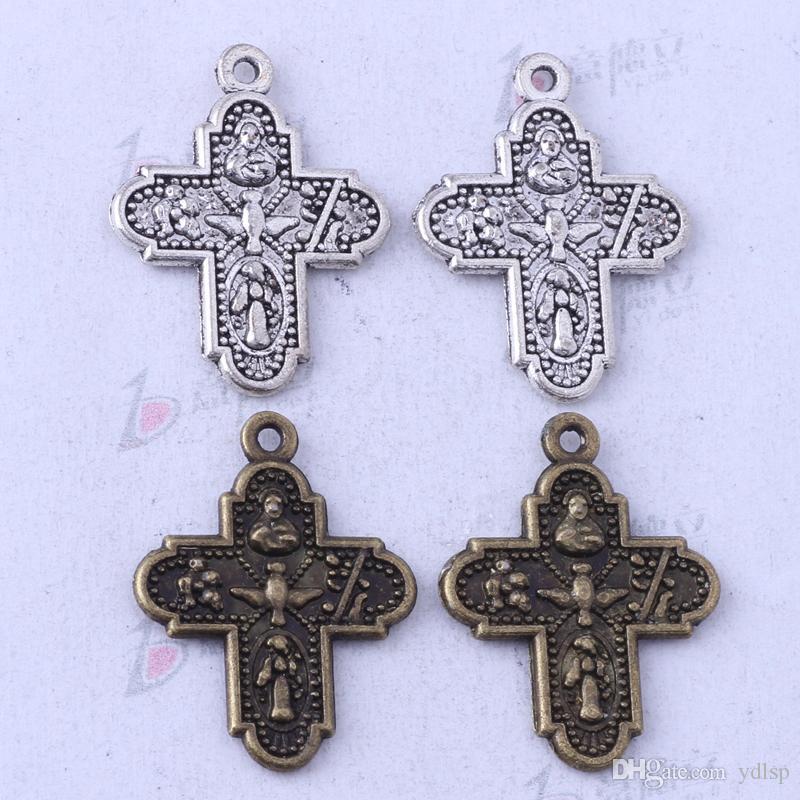 Ydlsp 24.2 * 19mm Croix Pendentif argent antique / alliage de bronze zinc Bracelets Fit Collier / 3421