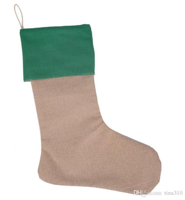 12 * 18 inç Yeni yüksek kaliteli tuval Noel çorap hediye çanta Noel çorap Noel dekoratif çorap çanta 4543