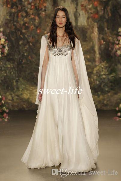 Empire Waist 2019 Maternity Beach Long Wedding Dresses Scoop Neck Beaded Crystal Chiffon Plus Size Long Boho Bridal Gowns Jenny Packham