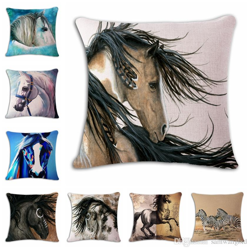 40d Horse Animals Pattern Decorative Throw Pillows Case Cushion Cover Fascinating Horse Pillows Decor