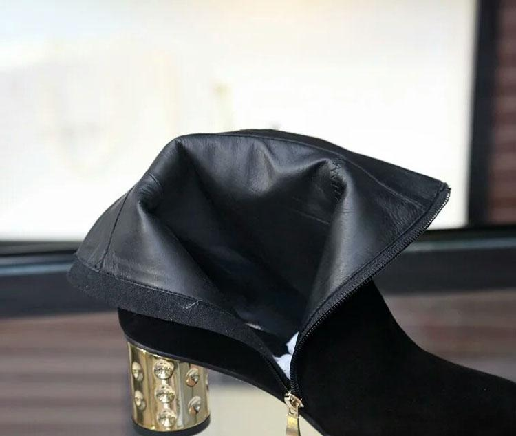 new~u651 40 black genuine leather gold heels short boots l matte luxury designer runway l fashion brand