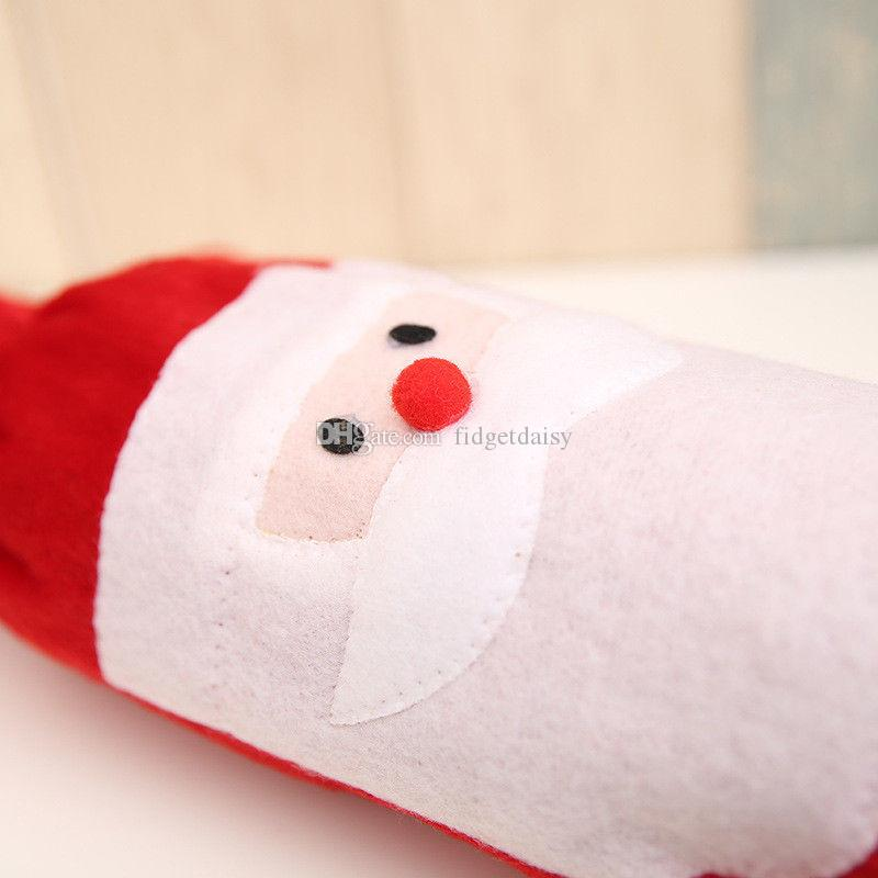 Рождество бутылки вина Covers красное вино сумки украшения Санта-Клаус Снеговик Стиль С красным Довольно Tie
