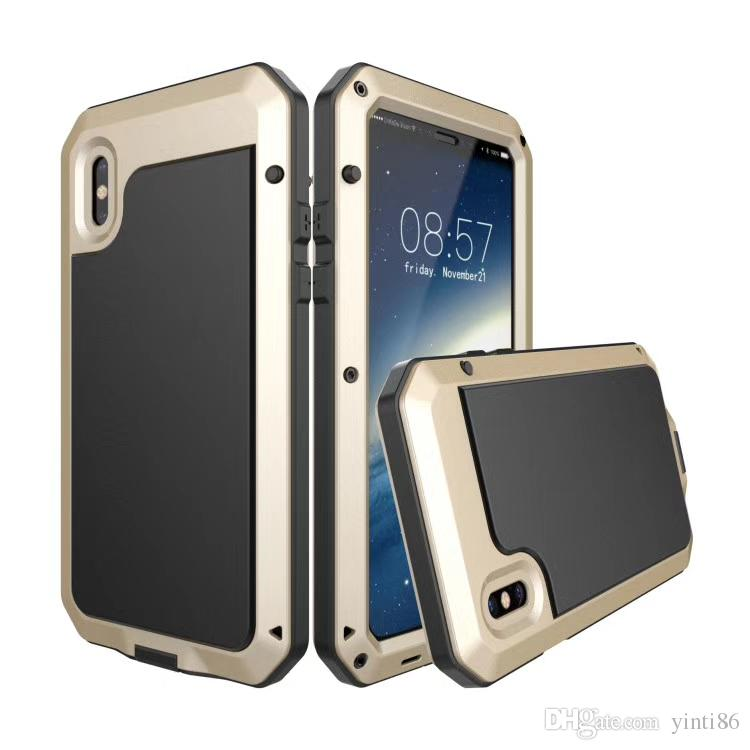 Cubierta de aluminio resistente a prueba de choques resistente del poder El vidrio de gorila protege la caja del teléfono para Iphone X