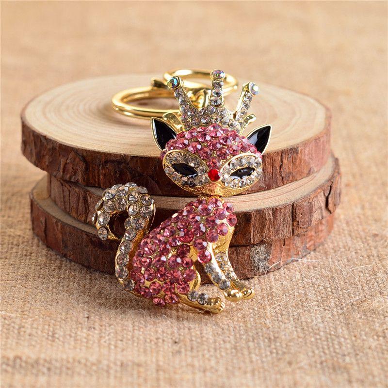Moda Casal Chaveiro Acessório Rhinestone Animal Fox Chaveiro Chave anéis de Luxo Coroa Com Cristal Sex Fox chaveiro 170425