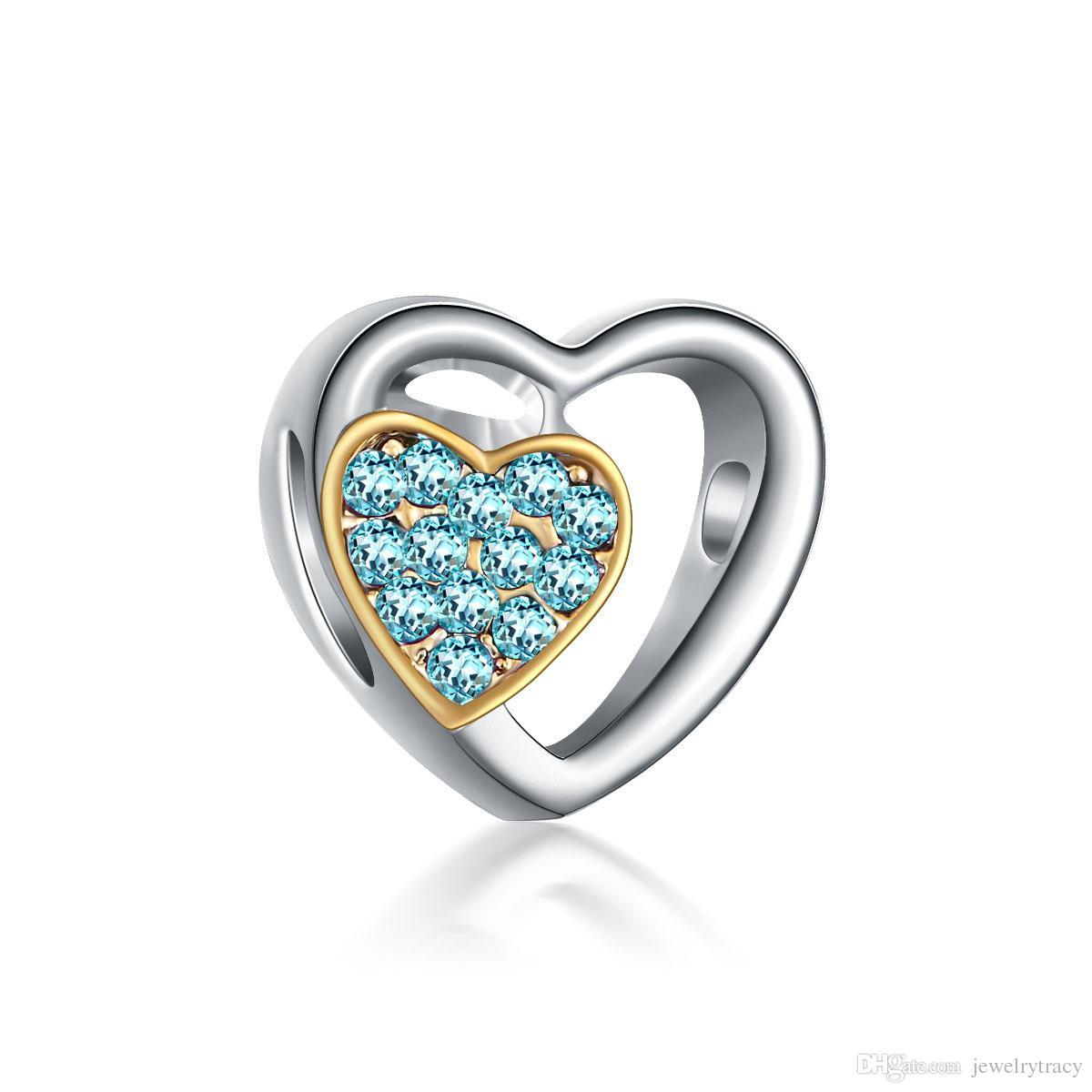 Alaşım kalp sakalları Çift renk dubleks büyük posta göz aksesuarları pandora charm bilezik Retro boncuklu bilezik için fit