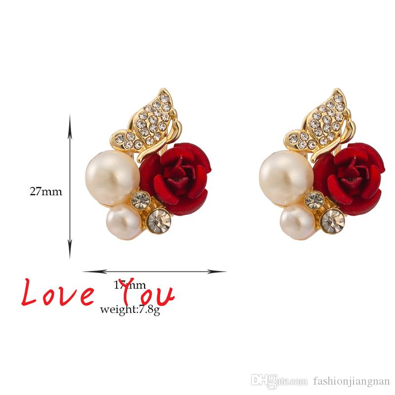Hot Sale Vintage Pearl Crystal Stud Earrings Luxury Women Red Flower Earrings New Fashion Elegant Jewelry for Party Accessories Bijoux Femme