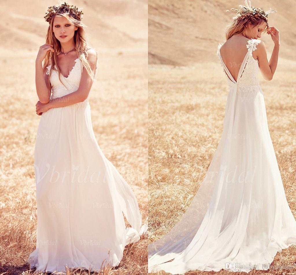 2016 Summer Boho Beach Wedding Dresses Cheap Backless Lace