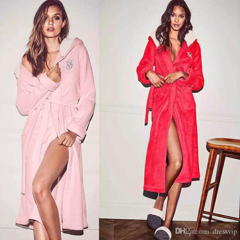 Pink Flannel Night Gown Wedding Bride Robe Long Night Robe Bathrobe Peignoir Female Fashion Dressing Gown Women Fall Winter Sleep Wear