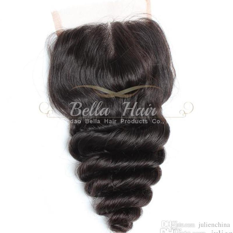 44 Middle Part Loose Wave Top Closure Hair Pieces Natural Color