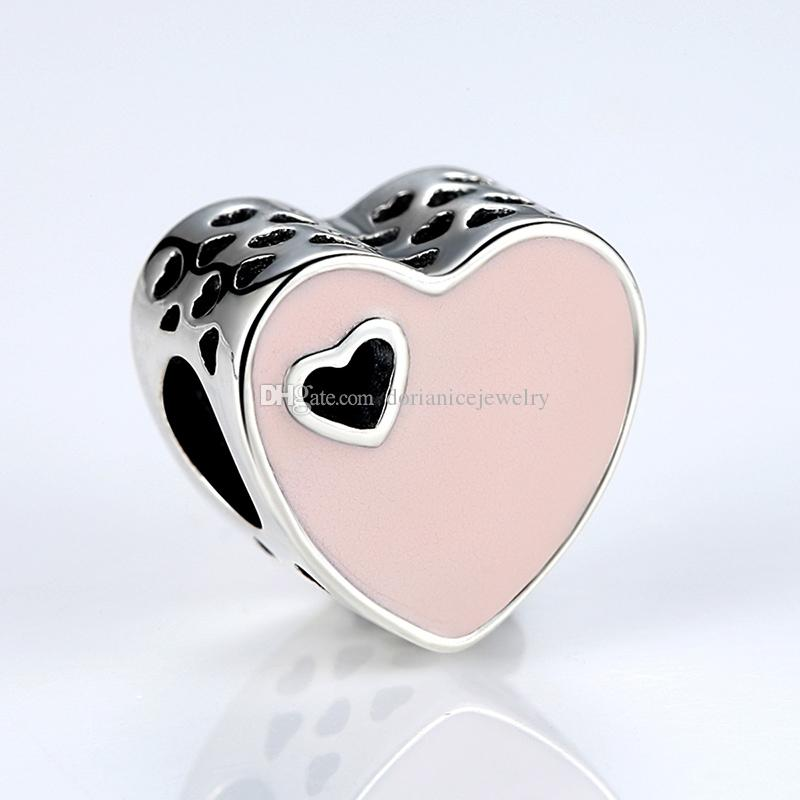 Authentic 925 Sterling Silver Heart Charms with Pink Enamel & Cut-out Heart for Pandora Style Beaded Charm Bracelets S305