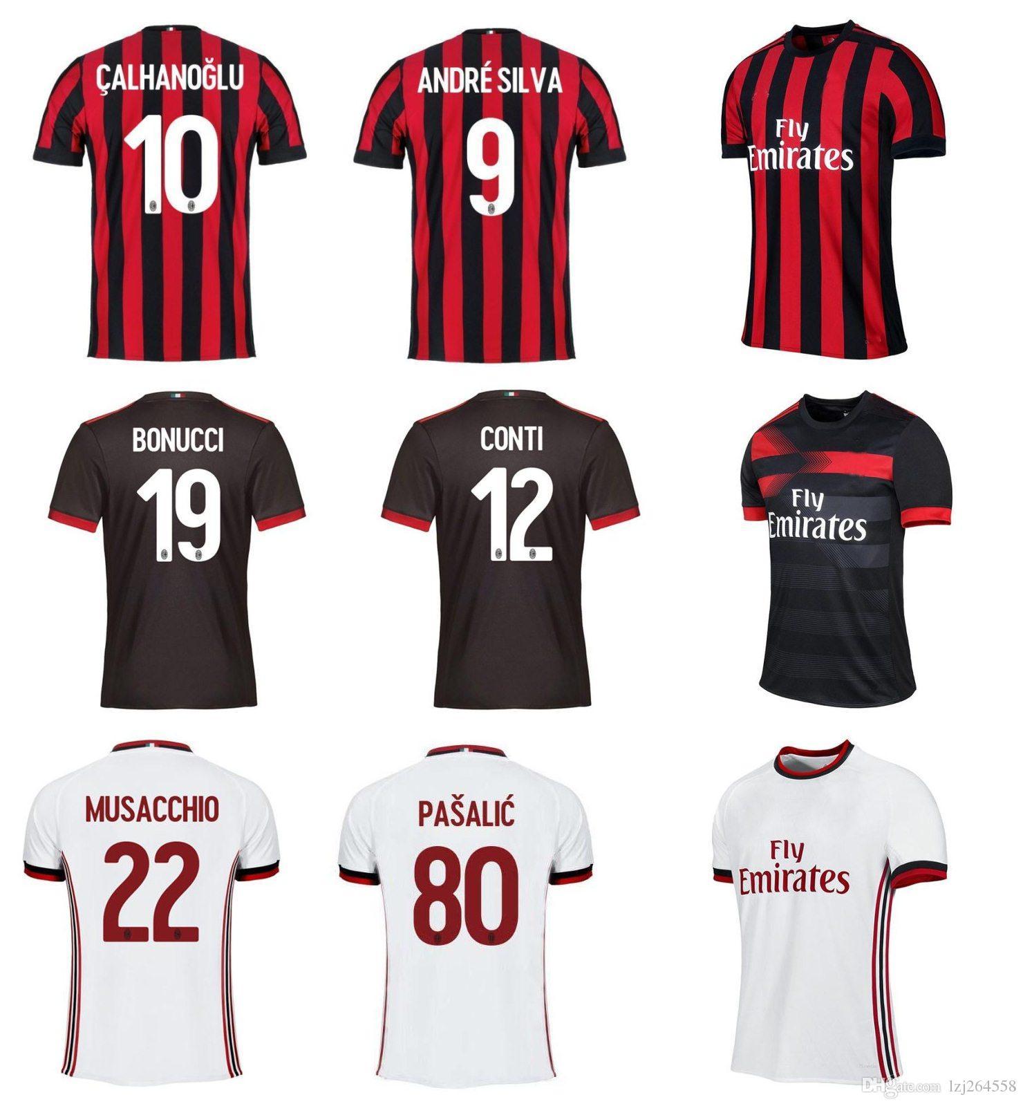 Whosales Ac Milan Camiseta De Fútbol 2018 Camisetas De Fútbol Uniforme 2017  Borini Andre Silva Bonucci R.Rodrigues Calhanoglu Suso Romagnoli 17 18 Top  Por ...