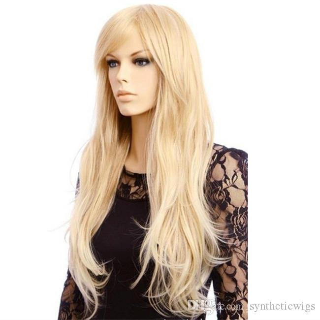 WoodFestival 70cm lange blonde Perücke Womens natürliche billige lockige Perücken mit Pony hitzebeständige Faser Perücke synthetische Haar Perücken natürliche Welle