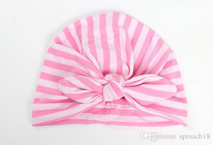 Ins Stripe Baby Bow Hat Bunny Ear Caps Europe Style Turban Knot Headwrap Hats Girls Infant India Hats Kids Autumn Beanie 3369