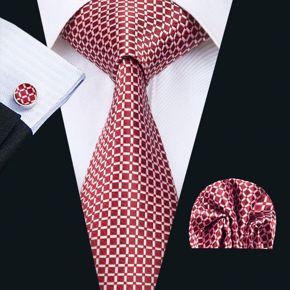 7862ecef3bd5 2019 Classic Silk Mens Ties Red Tie Sets Checks Mens Neckties Tie Hanky  Cufflinks Jacquard Woven Meeting Business Casual Party Necktie N 1407 From  ...