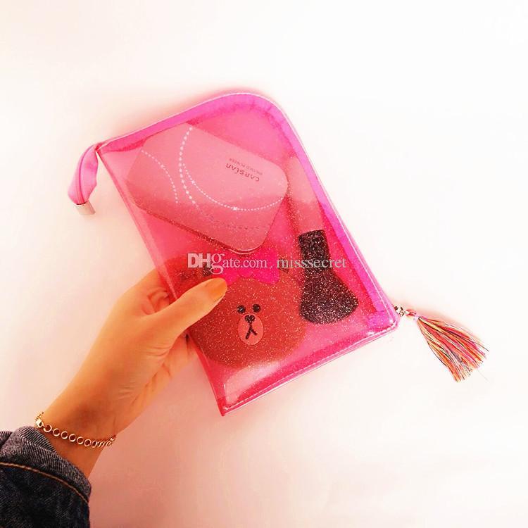 Meninas Estilo Portátil Transparente Brilhante Cosméticos Borlas Saco de Viagem Com Zíper Make Up Bag Carta Maquiagem Caso Bolsa De Higiene Pessoal Organizador