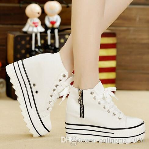 278a76cc635 Sneakers Fashion Womens High Heeled Platform Sneakers Canvas Shoes  Elevators White Black High Top Casual Woman Shoes With Zipper