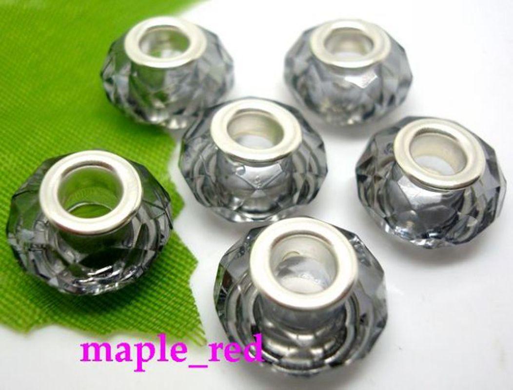 Wholesale / schöne Mehrfarbenrunden facettierten Kristallharz-Korne passten europäischen Charme Armbänder / Halskette Niedriger Preis
