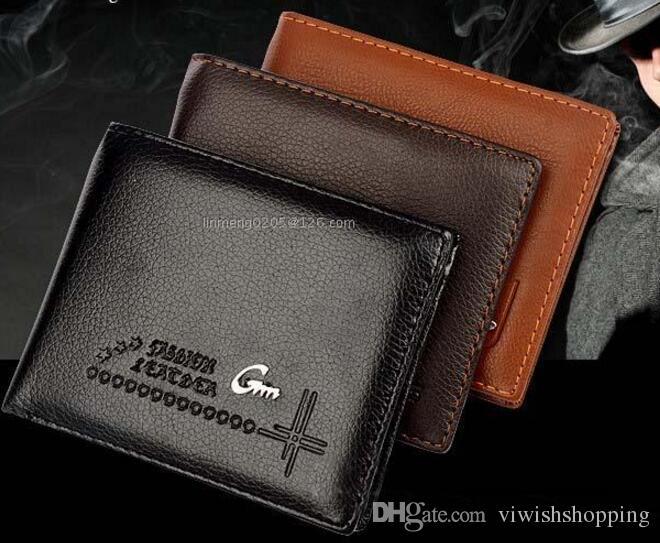Новый высокое качество 2017 мужской натуральная кожа роскошный кошелек повседневная короткие дизайнер карты держатель карманные мода кошелек кошельки для мужчин