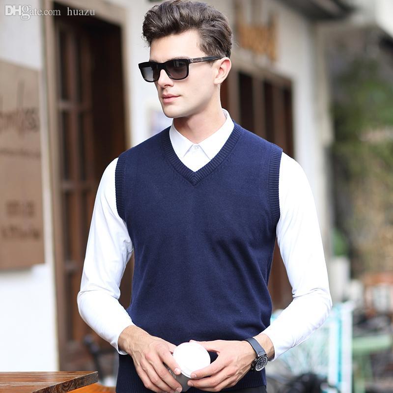 43c1620e0fee3 2019 Wholesale 2016 Latest Design V Neck Solid Color Mens Sleeveless Knit  Cashmere Sweater Vest From Huazu