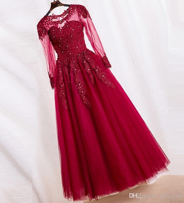 Nueva madre de la novia Vestido joya palabra de longitud apliques con listones de manga larga de tul una línea de vestidos de fiesta de la madre vestidos de noche