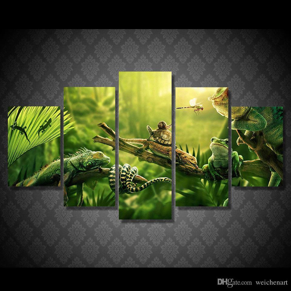 5 Paneli HD Baskılı Parti Hayvan Tuval Dekor poster resim Tuval Hayvan Yağı Duvar Boyama Baskı Baskı Boyama