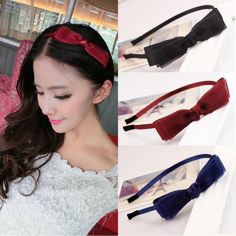 2pcs/lot 2017 New Girls Bowknot Hairbands Lace Style Simple Lady Hair Holders Accessories Fashion Super Free Shipping