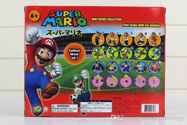 Super Mario Bros Peach Toad Mario Luigi Yoshi Donkey Kong PVC Action Figure Toys Square Box of set