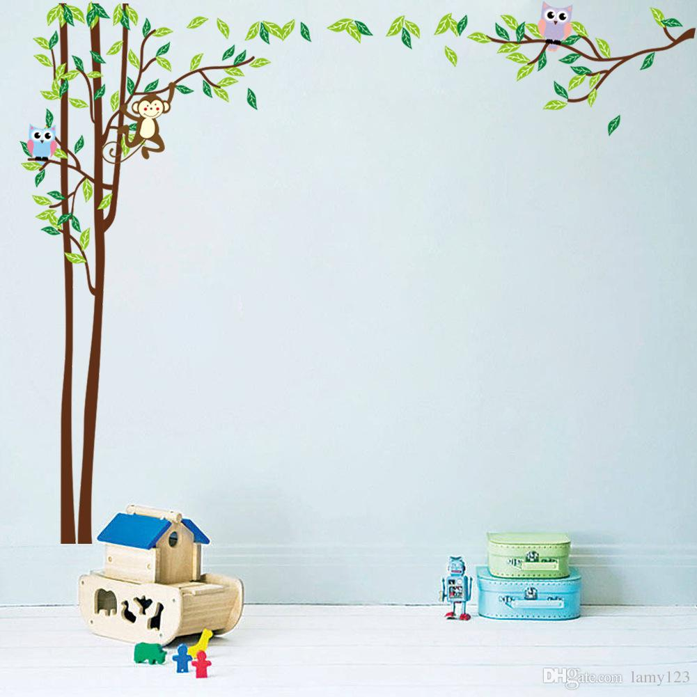 Wholeasle 2016 New IDY Cartoon Owls and Monkey Tree Wall Stickers Nursery Children's Room Waterproof Home Decoration Wall Decor 220x176cm