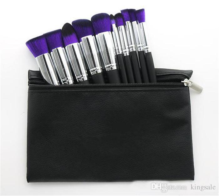 메이크업 전문 브러시 파우치 DHL과 화장품 재단 BB 크림 파우더 블러쉬 10 개 메이크업 도구 블랙 / 화이트 / 핑크 설정