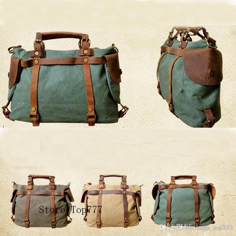 2018 Women Vintage Retro Canvas Leather Weekend Shoulder Bag Duffle ... b80fbb5df