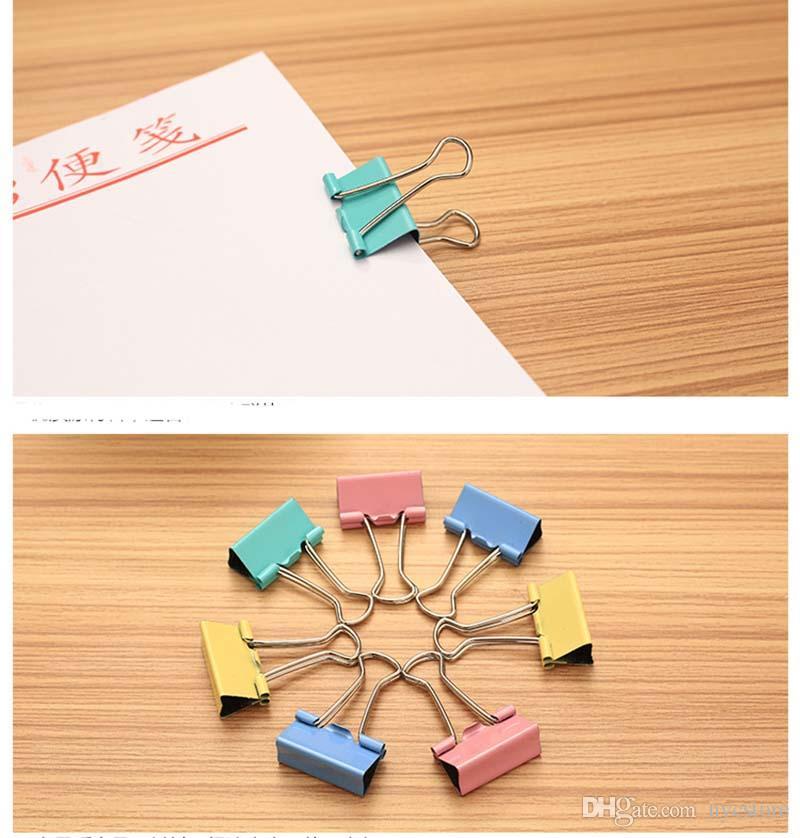 120 teile / los 15mm Bunte Metall Binder Clips Büroklammer Büromaterial Verbindliche Lieferungen