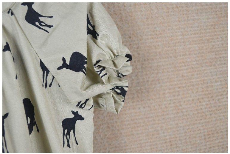 2016 Été Nouvelles Filles Cerf Fawn Motif Chemise Bébé Fille Manches Courtes Blouse Tops Enfants Vêtements Mignon Filles Bowknot T-shirt De Mode Fille Robe