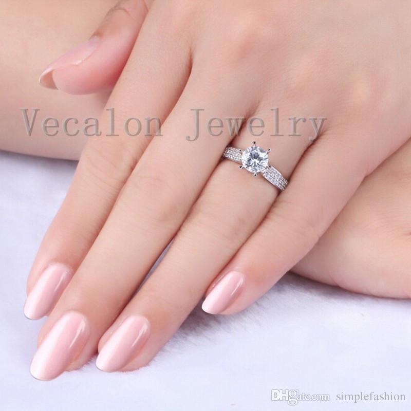 Vecalon خاتم الزواج خاتم الفرقة الفاخرة للنساء 1.5ct تشيكوسلوفاكيا خاتم الماس 925 فضة أنثى الاشتباك البنصر