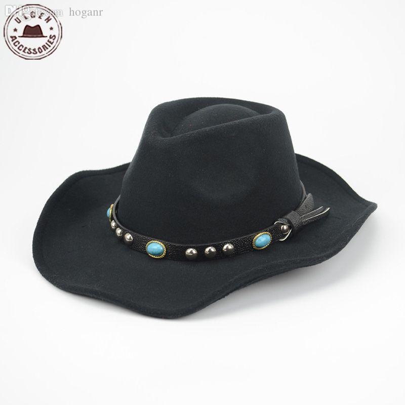 2567e56386d77 Atacado-Cool Mens chapéu de vaqueiro ocidental lã preta feltro chapéu fedora  clássica stetson Jazz chapéus grande brim Mens chapéu de panamá fedora Caps