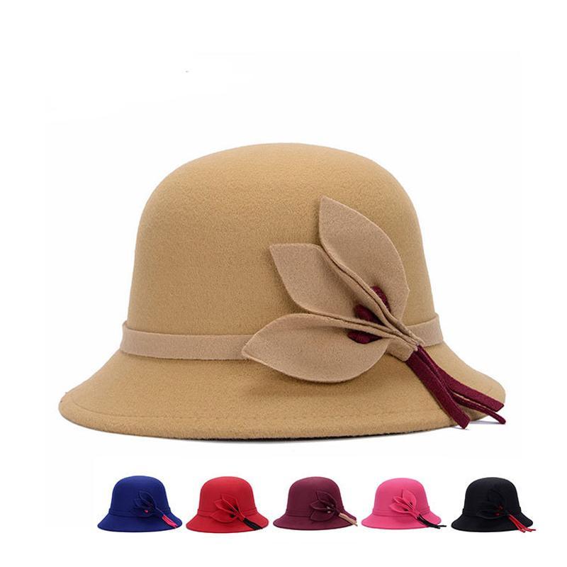 4d2b3191c97 British Style Ladies Top Hats Warm Autumn Winter Wool Bucket Hats ...