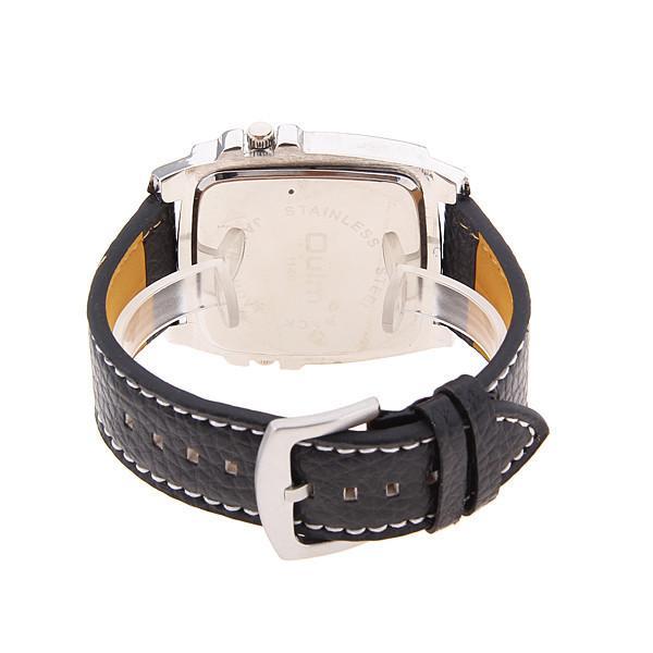Nuovo arrivo Mens OULM 1140 Top Brand Orologi di alta qualità in pelle Double Japan Movt quarzo rettangolare orologio militare nero