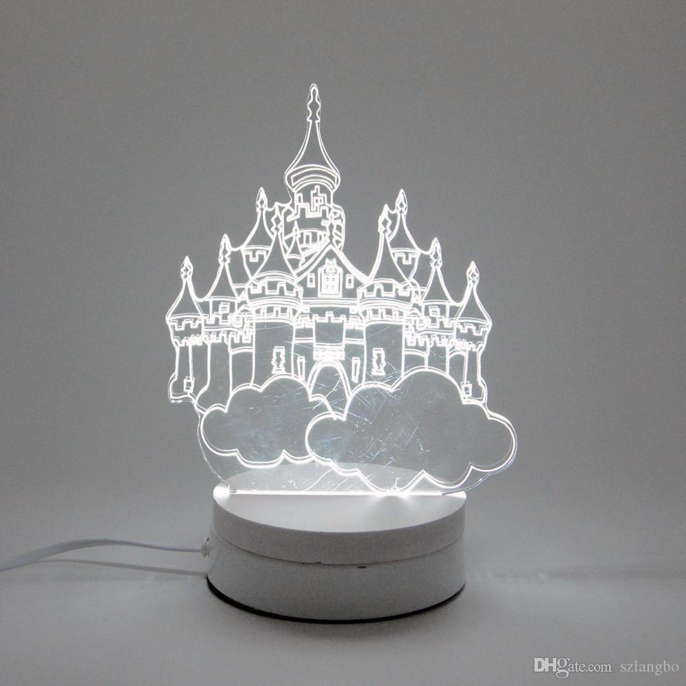 2018 6w Castle Led Night Light Ac220v Input Diy Table Lamp Laser ...