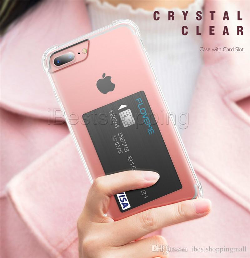 Card Slot Transparent Case Defender Soft Tpu Clear Phone Back Cover Cases For Iphone 8 7 6 6s Plus Holder Shells Cell Phones