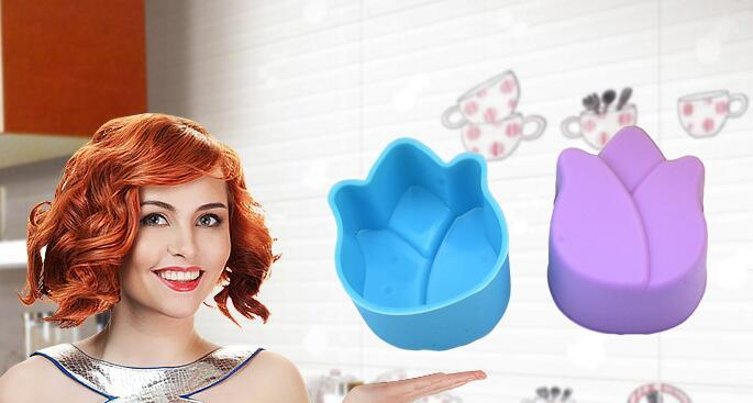 Fashion Hot Mini 3cm Silicone Cupcake liner Tulip Flower Cake Chocolate Cake Muffin Liners Pudding Jelly Baking Cup Mold