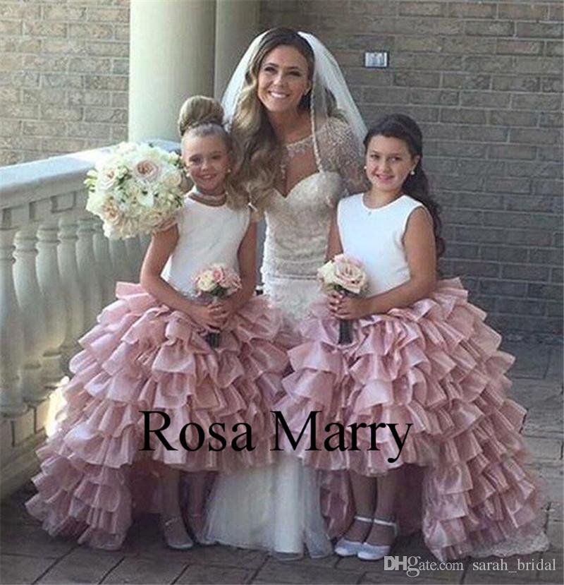 Blush Pink High Low Flower Girls Dresses for Wedding 2020 Ball Gown Tiered Organza Skirt Pageant First Communion Birthday Party Gown Toddler
