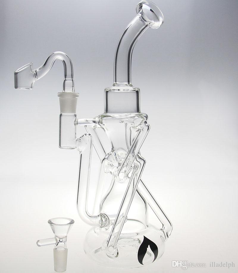 liquidglassarts newest pyrex water pipe glass bong have glass diffusion double Recycler glass bubbler with two accessories 14mm joint