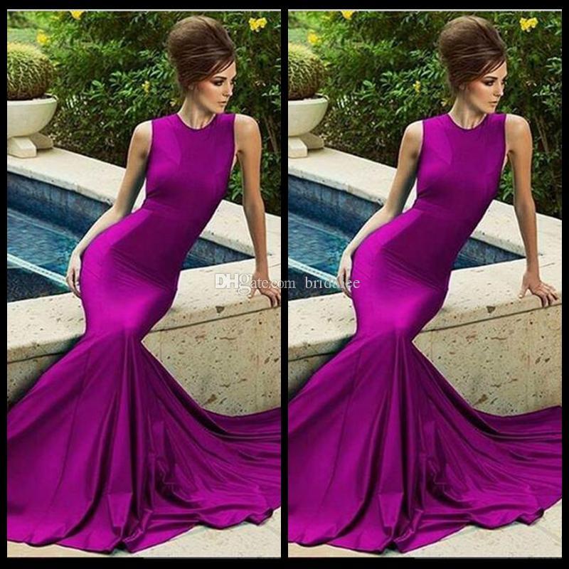 Robes de bal élégantes violet 2016 Train de haute qualité Robe de soirée longue Robes de soirée simples