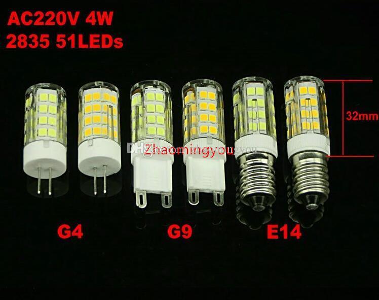 Frete grátis AC220V E14 G9 G4 4 W Lâmpada LED Lâmpada Mini Milho Luz 51 SMD 2835 Chip, 10 pçs / lote
