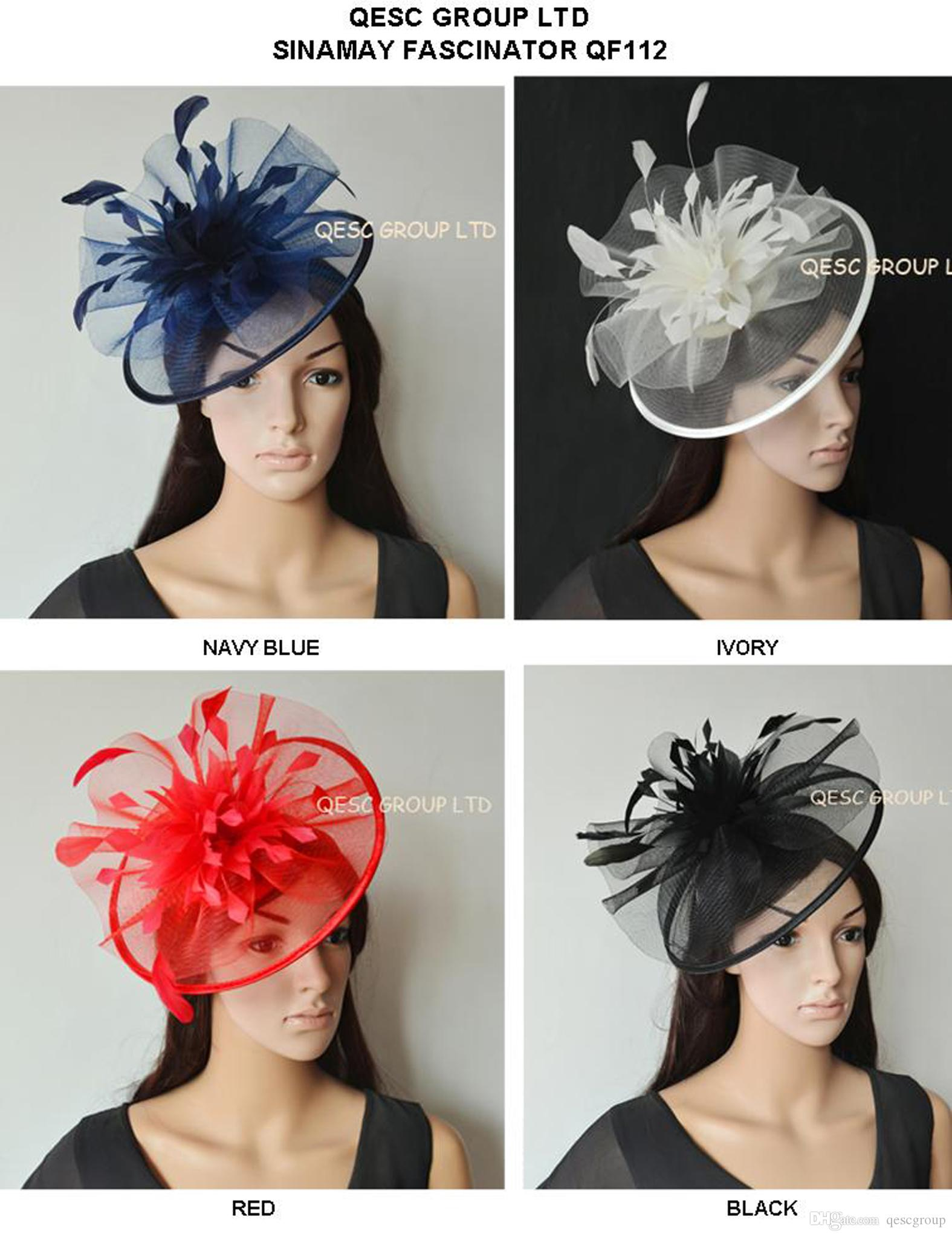 4476fd9ddbe New Colour Crin Fascinator Sinamay Fascinator Wedding Hat With Feather  Flowers For Melbourne Cup