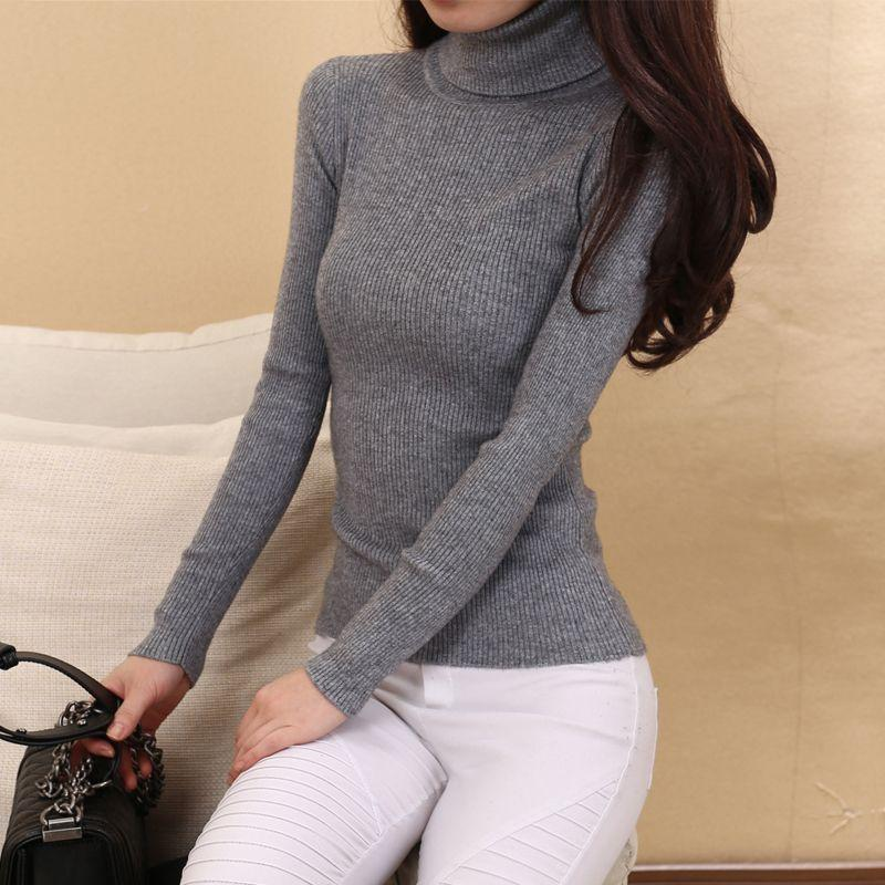 2e9d216ed3e 2019 Wholesale Cashmere Sweater Women Turtleneck Pullover Ladies Sweaters  Shirt Hot Sale Wool Knitted Sweater Female Warm Tops Sale Clothing From  Octavi