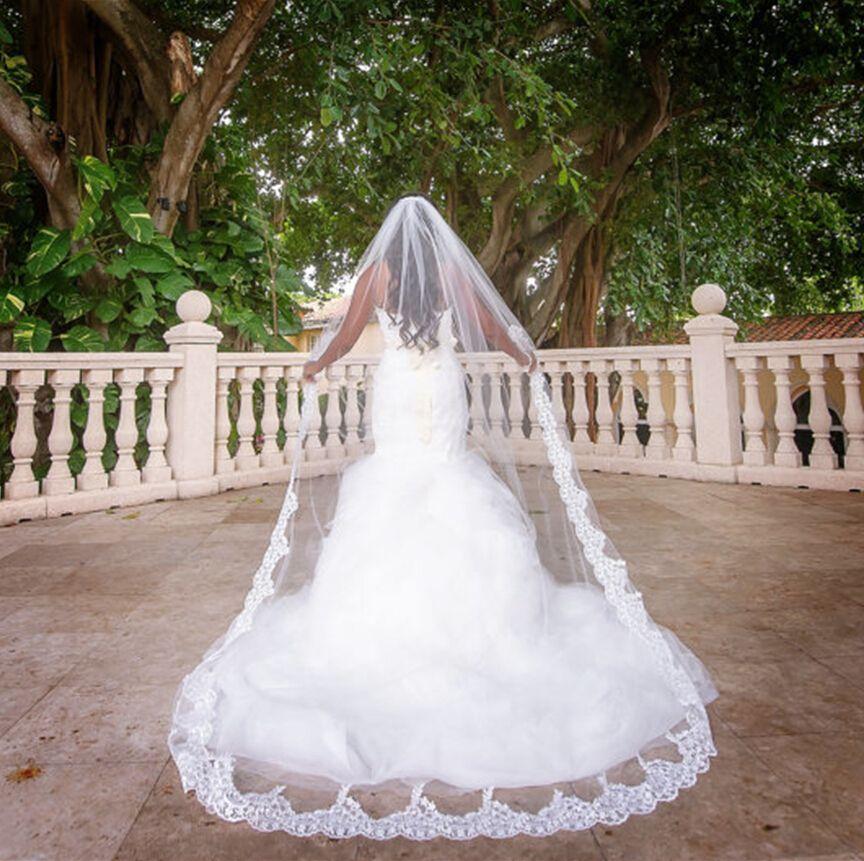 3 metros uma camada de lace borda de borda comprimento de casamento véu com pente 3 m véu nupcial acessórios de casamento
