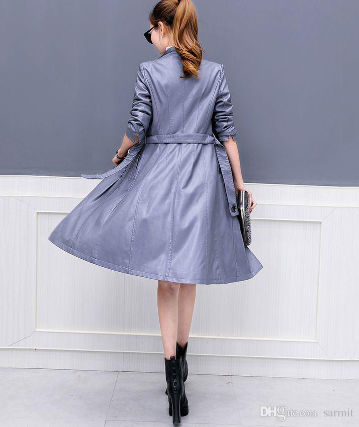 Frauen Kunstleder Jacke Wildleder Trenchcoats Lang Duster Mantel F0220 Mode Schwarz PU Leder Mantel Grau Lila