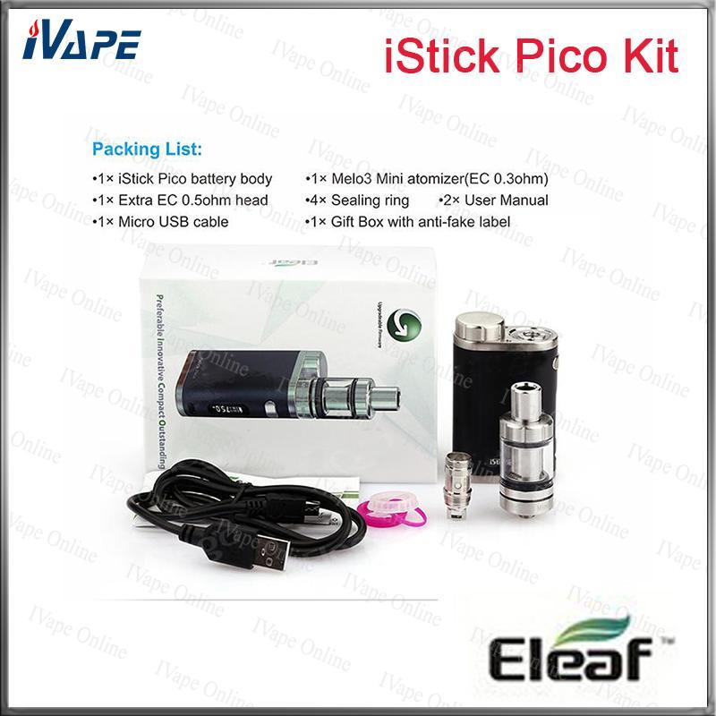 100% Original Eleaf iStick Pico Kit 75W iStick Pico Mod VW/Bypass/TC Modes Firmware Upgradeable With 2ml 4ml Mleo III Mini Tank